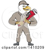 Cartoon Bald Eagle Plumber Man Holding A Monkey Wrench