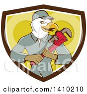 Clipart Of A Cartoon Bald Eagle Plumber Man Holding A Monkey Wrench In A Brown White And Yellow Shield Royalty Free Vector Illustration
