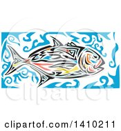 Clipart Of A Retro Colorful Tribal Art Style Giant Trevally Kingfish And Blue Water Royalty Free Vector Illustration