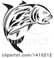 Clipart Of A Retro Black And White Tribal Art Style Giant Trevally Kingfish Royalty Free Vector Illustration