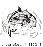 Clipart Of A Retro Jumping Tribal Art Style Giant Trevally Kingfish Royalty Free Vector Illustration