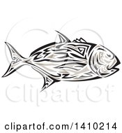 Clipart Of A Retro Tribal Art Style Giant Trevally Kingfish Royalty Free Vector Illustration