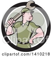 Clipart Of A Retro Cartoon White Handy Man Or Mechanic Standing And Holding A Spanner Wrench In A Black White And Green Circle Royalty Free Vector Illustration by patrimonio