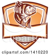 Clipart Of A Retro Jumping Sheepshead Fish Design Royalty Free Vector Illustration