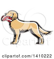 Clipart Of A Retro English Setter Dog With A Deflated Volleyball In His Mouth Royalty Free Vector Illustration