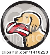 Clipart Of A Retro English Setter Dog With A Deflated Volleyball In His Mouth In A Black And Gray Circle Royalty Free Vector Illustration