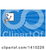 Clipart Of A Retro Cartoon White Handy Man Holding A Spanner Wrench And Climbing A Ladder To A Window Or Sign And Blue Rays Background Or Business Card Design Royalty Free Illustration