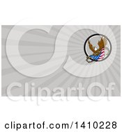 Clipart Of A Retro Bald Eagle Flying With An American Flag And Towing J Hook And Gray Rays Background Or Business Card Design Royalty Free Illustration