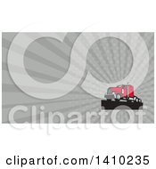 Retro Red Big Rig Truck And Gray Rays Background Or Business Card Design
