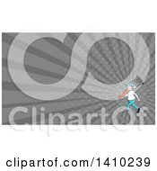Retro Cartoon White Male House Painter Carrying A Giant Brush On His Shoulder And Gray Rays Background Or Business Card Design
