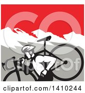 Clipart Of A Retro Male Cyclocross Athlete Running And Carrying Bicycle On His Shoulders In The Mountains Royalty Free Vector Illustration by patrimonio