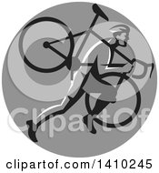 Clipart Of A Retro Male Cyclocross Athlete Running And Carrying Bicycle On His Shoulders In A Gray Circle Royalty Free Vector Illustration by patrimonio