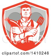 Clipart Of A Retro Jack Of All Trades Worker Man Holding A Blow Dryer And Spatula Wearing A Stethoscope And Tools In A Shield Royalty Free Vector Illustration