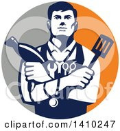 Clipart Of A Retro Jack Of All Trades Worker Man Holding A Blow Dryer And Spatula Wearing A Stethoscope And Tools In A Gray And Orange Circle Royalty Free Vector Illustration