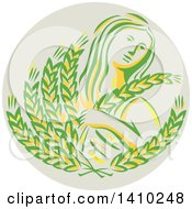 Clipart Of A Greek Goddess Demeter Holding Grains In A Circle Royalty Free Vector Illustration