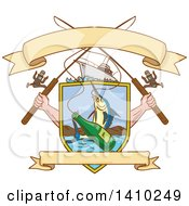 Clipart Of A Sketched Crossed Arms Holding Fishing Rods Over A Shield With A Marlin Fish And Beer Bottle Over Water Royalty Free Vector Illustration by patrimonio