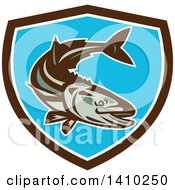Clipart Of A Retro Cobia Fish In A Brown White And Blue Shield Royalty Free Vector Illustration