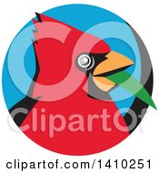 Clipart Of A Retro Cartoon Red Cardinal Bird With A Blade Of Grass In His Mouth In A Black And Blue Circle Royalty Free Vector Illustration
