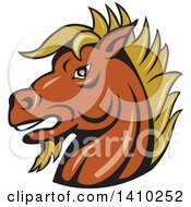 Clipart Of A Cartoon Tough Angry Stallion Horse Head Royalty Free Vector Illustration