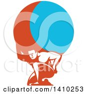 Retro Man Atlas Kneeling And Carrying A Blue And Orange Globe