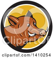 Clipart Of A Cartoon Wild Razorback Boar Head In A Black White And Yellow Circle Royalty Free Vector Illustration by patrimonio