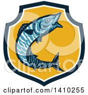 Clipart Of A Retro Jumping Wahoo Fish In A Blue White And Yellow Shield Royalty Free Vector Illustration