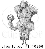 Clipart Of A Grayscale Sketched Caricature Styled Victorian Gentleman With A Strawberry Head Wearing A Tricorn Hat And Holding An Ice Cream Cone Royalty Free Vector Illustration