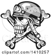 Clipart Of A Retro Military Skull And Crossbones With A Helmet Royalty Free Vector Illustration by patrimonio