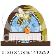 Clipart Of A Sketched Design Of A Worker Bee Flying With A Honey Jar Royalty Free Vector Illustration