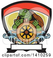 Clipart Of A Cartoon Ridley Turtle Steering At A Helm In A Shield Royalty Free Vector Illustration by patrimonio
