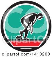 Clipart Of A Retro Male Rugby Player In A Black Red White And Turquoise Circle Royalty Free Vector Illustration