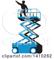 Clipart Of A Retro Wpa Styled Silhouetted Male Worker On A Cherry Picker Scissor Lift Royalty Free Vector Illustration