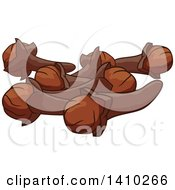 Clipart Of A Culinary Herb Spice Cloves Royalty Free Vector Illustration