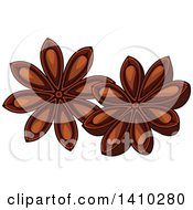 Clipart Of A Culinary Herb Spice Star Anise Royalty Free Vector Illustration
