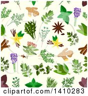 Clipart Of A Seamless Background Pattern Of Spices And Herbs Royalty Free Vector Illustration