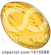 Clipart Of A Sketched Canary Melon Royalty Free Vector Illustration
