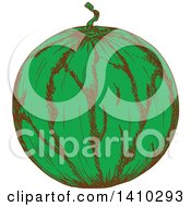 Clipart Of A Sketched Watermelon Royalty Free Vector Illustration by Vector Tradition SM