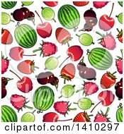 Clipart Of A Seamless Background Pattern Of Fruit Royalty Free Vector Illustration