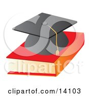 Graduation Cap On Top Of A Text Book School Clipart Illustration