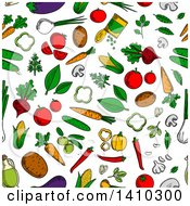 Poster, Art Print Of Seamless Background Pattern Of Vegetables