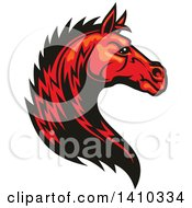 Clipart Of A Tough Red Horse Head Royalty Free Vector Illustration by Vector Tradition SM