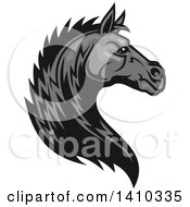 Clipart Of A Tough Grayscale Horse Head Royalty Free Vector Illustration