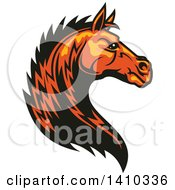 Clipart Of A Tough Orange Horse Head Royalty Free Vector Illustration