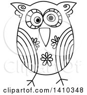 Sketched Black And White Owl