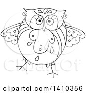 Clipart Of A Sketched Black And White Owl Royalty Free Vector Illustration by Vector Tradition SM