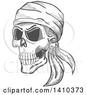 Sketched Gray Human Pirate Skull With A Bandana