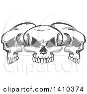 Poster, Art Print Of Gray Sketched Trio Of Human Skulls