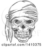 Poster, Art Print Of Sketched Gray Human Pirate Skull With A Bandana