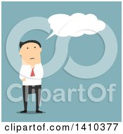 Clipart Of A Flat Design White Businessman Thinking On Blue Royalty Free Vector Illustration by Vector Tradition SM