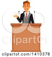 Clipart Of A Caucasian Business Man Or Politician Speaking Royalty Free Vector Illustration by Vector Tradition SM